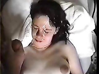 Big tits girl facial