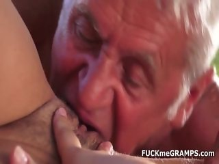 Tamia fucks two real old guys