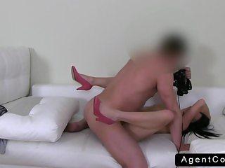 Petite amateur posing nude on casting