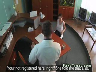 Doctor fucks patient on a recepcionists desk
