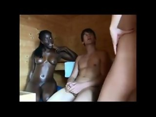 Great ebony 3some action in a spa FFM