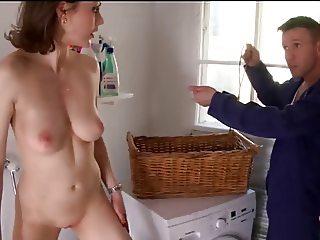 sexy housewife sucks the handyman