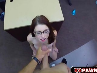 Sweet busty babe Jenny having a huge dick to
