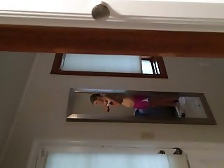 Wife putting on sports bra - hidden cam 9.8.14