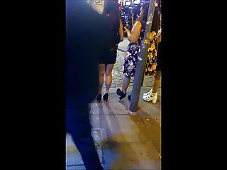Leather Miniskirt & High Heels on the Street