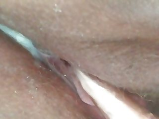 Clit toy with hard nipples and creamy wet pussy cum