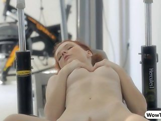 Sultry Mia Sollis workout while naked