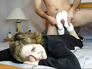 Footjob in white slouch socks w cumshot (Archive). - Preview