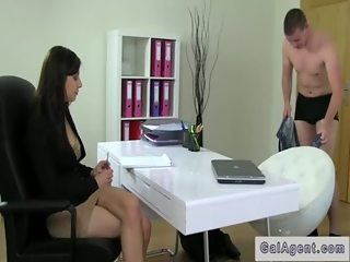 Assistant fucks female agent POV after bad casting
