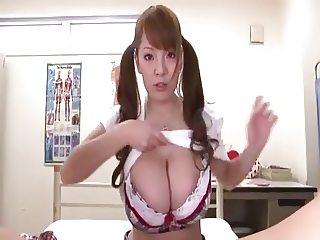 Busty Hitomi Tanaka Titfuck and Blowjob Pigtails