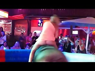 Miniskirt Slut Ride The Bull and Show Her Ass