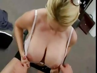 Big titted blonde cougar fucked in the office
