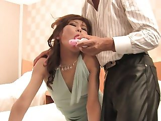 Horny bitch gets fucked with toys before sucking dick