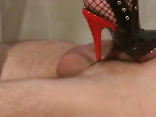 Black boots red heels