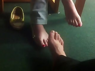 footsie with shy chinese student in library