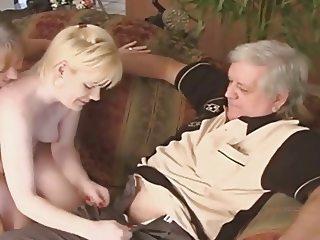 Grandpa fucks on couch