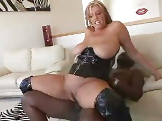 Milf Zoe fucking black cock in leather boots n corset