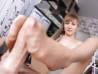 Blonde Pantyhose footjob