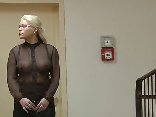 See-through shirt at work