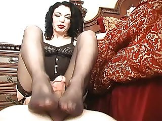 stockings footjob cumshot submissive