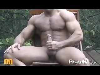 Muscle God Buck Branson Jerks off Outside