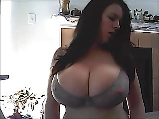 Lovely huge tits bouncing out of bra