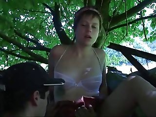 Couple enjoy unrestricted outdoor voyeuristic undressing and fucking