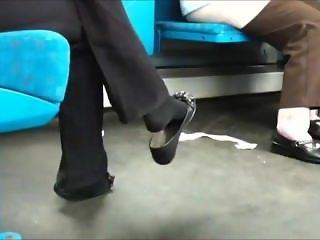Girl In Blacks Socks With A Ballerina Shoeplay