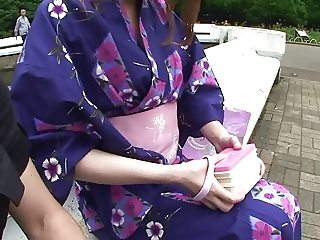 Hot geisha in uniform sucks cock in the toilets