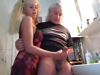 Young Girl Milks Old Man WF