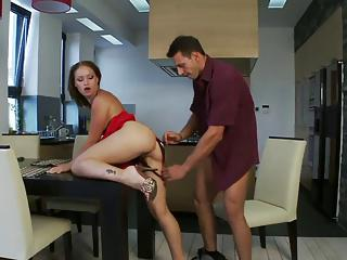 Caty's legs are spread wide open for hardcore pounding