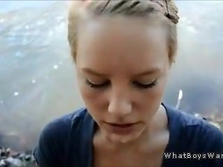 stunning amateur teen blowjob and facial by river