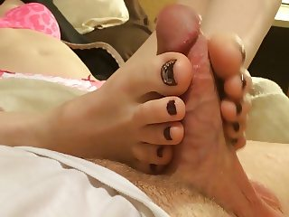 Hot amateur POV footjob