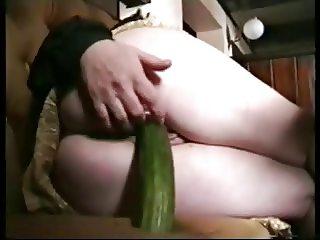 She use a cucumber .................