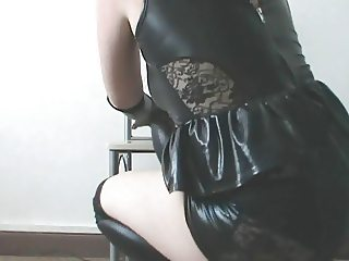 ME IN MY SLUTTY SHINY PVC DRESS GLOVES AND HOLD UPS PART 1
