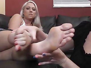 2 girls worship a girls socks and feet