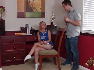 Cheerleader gives bj in socks