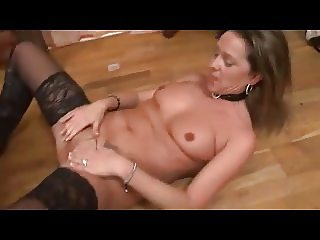 Hot french MILF in lingerie and boots in pussy and ass