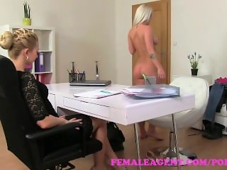 FemaleAgent. Sexy agent fulfills busty blondes strap on fantasy