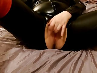 Wife Masterbating in PVC Catsuit and Red Thigh High Boots