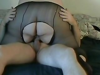 SsBBW foreplay  pantyhose big butt