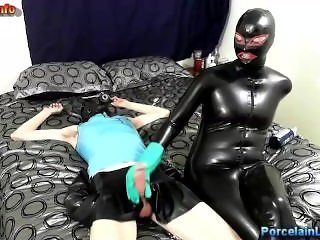 handjob with rubber goves