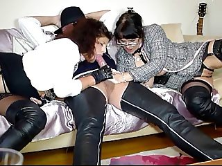 Hot Milfs in thigh boots blowjob audition