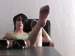 cute girl Smelly pink socks and feet
