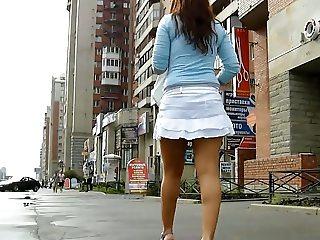 Sexy legs in miniskirt upskirt