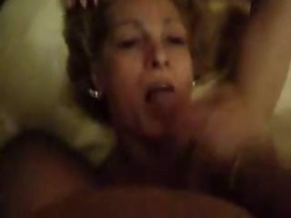 Blonde Mature shemale drinking some man milk