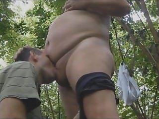 Chub dad play in forest