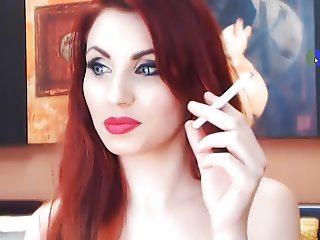 Redhead teasing and smoking