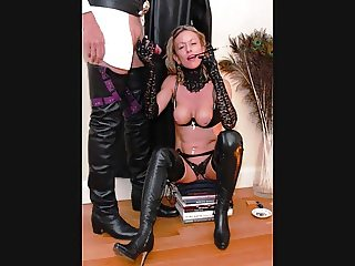 Hot Milf thigh boots smoking fetish blowjob