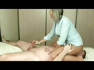 Amateur blond milf plays with  dick and sits on  face